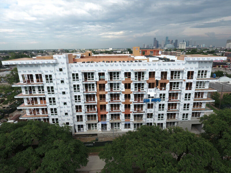 Exterior of Azure apartment community while under construction